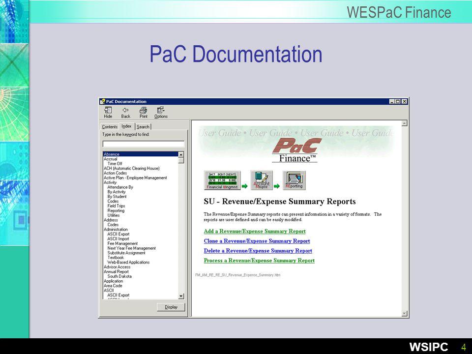 4 WSIPC WESPaC Finance PaC Documentation