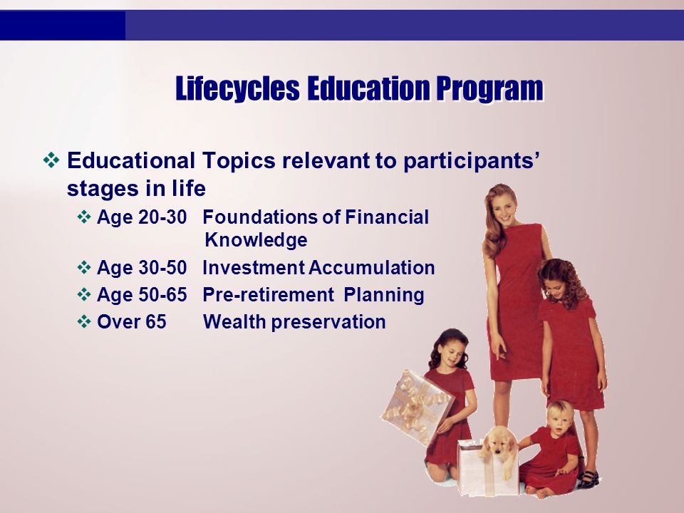 Lifecycles Education Program vEducational Topics relevant to participants' stages in life vAge 20-30 Foundations of Financial Knowledge vAge 30-50 Investment Accumulation vAge 50-65 Pre-retirement Planning vOver 65 Wealth preservation