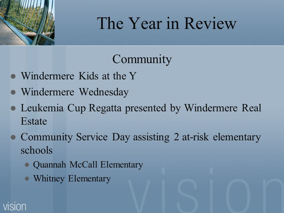 The Year in Review Community Windermere Kids at the Y Windermere Wednesday Leukemia Cup Regatta presented by Windermere Real Estate Community Service