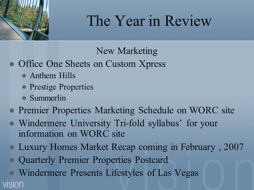 The Year in Review New Marketing Office One Sheets on Custom Xpress Anthem Hills Prestige Properties Summerlin Premier Properties Marketing Schedule o