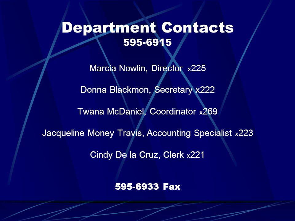 Department Contacts 595-6915 Marcia Nowlin, Director x 225 Donna Blackmon, Secretary x222 Twana McDaniel, Coordinator x 269 Jacqueline Money Travis, A