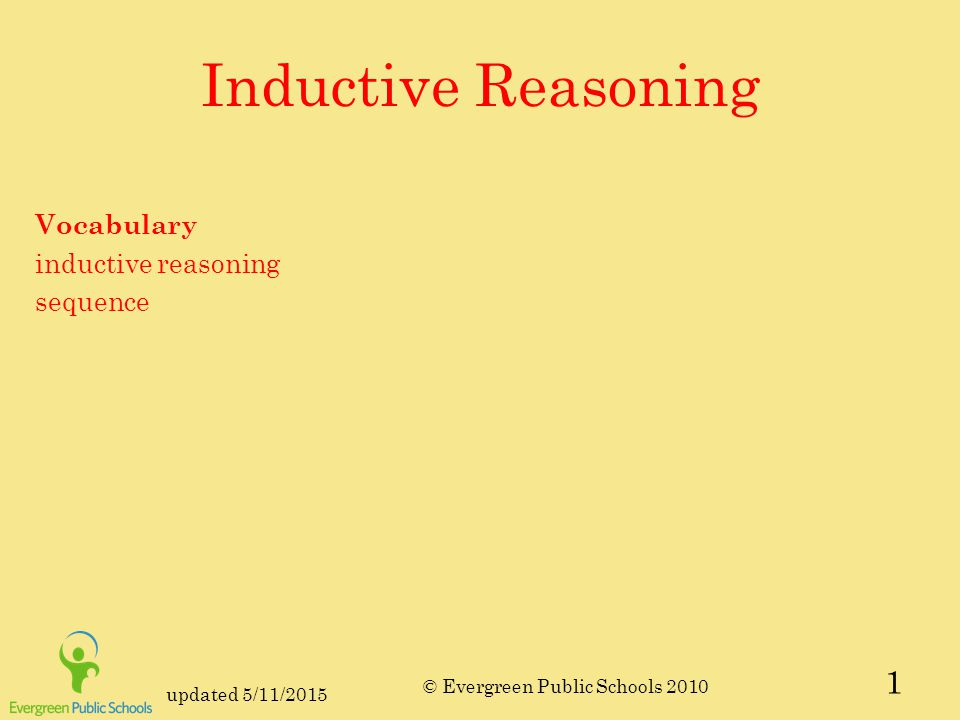 updated 5/11/2015 © Evergreen Public Schools 2010 Learning Target I can use inductive reasoning to support a conjecture.