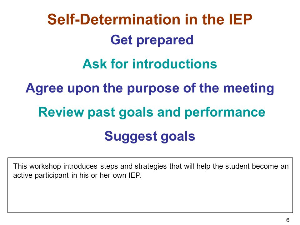 7 Self-Determination in the IEP Ask questions if you don't understand Deal with differences of opinion Suggest supports needed Summarize goals