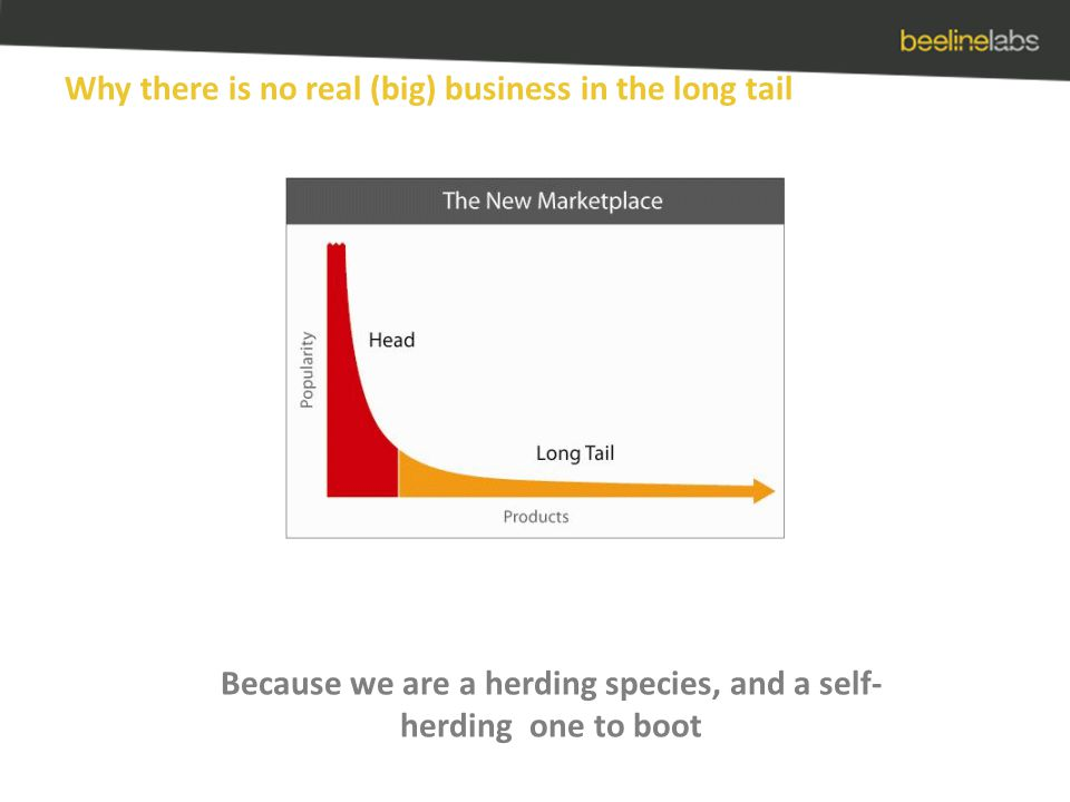 Why there is no real (big) business in the long tail Because we are a herding species, and a self- herding one to boot