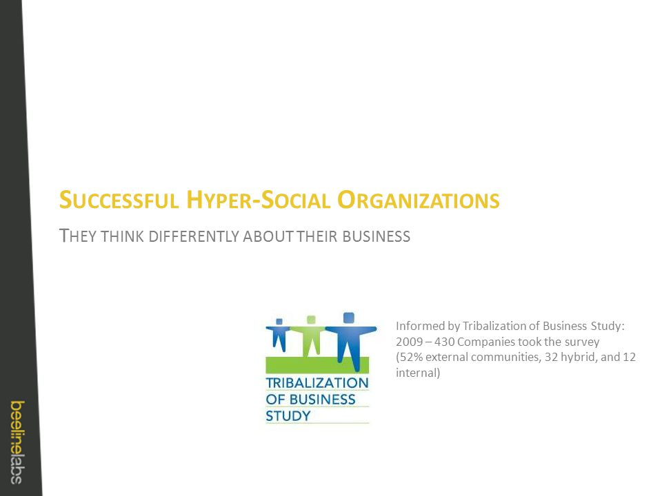 T HEY THINK DIFFERENTLY ABOUT THEIR BUSINESS S UCCESSFUL H YPER -S OCIAL O RGANIZATIONS Informed by Tribalization of Business Study: 2009 – 430 Companies took the survey (52% external communities, 32 hybrid, and 12 internal)
