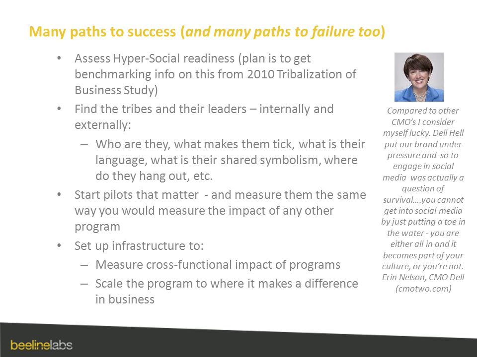 Many paths to success (and many paths to failure too) Assess Hyper-Social readiness (plan is to get benchmarking info on this from 2010 Tribalization
