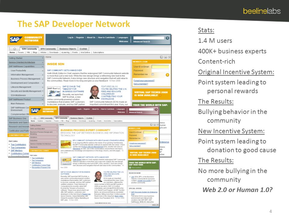 The SAP Developer Network 4 Stats: 1.4 M users 400K+ business experts Content-rich Original Incentive System: Point system leading to personal rewards The Results: Bullying behavior in the community New Incentive System: Point system leading to donation to good cause The Results: No more bullying in the community Web 2.0 or Human 1.0