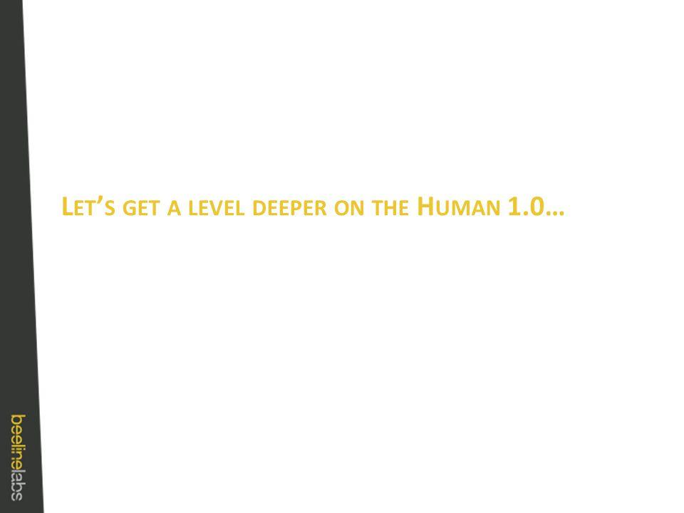 L ET ' S GET A LEVEL DEEPER ON THE H UMAN 1.0…
