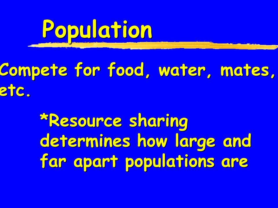 Population  Group of organisms from one species  Live in the same place at the same time & interbreed