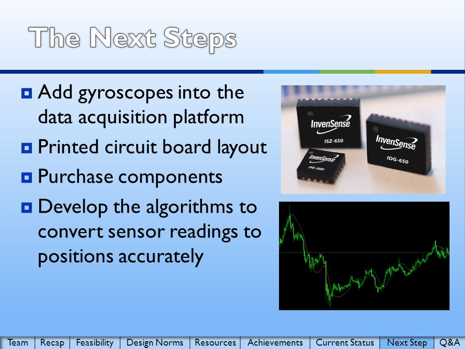  Add gyroscopes into the data acquisition platform  Printed circuit board layout  Purchase components  Develop the algorithms to convert sensor readings to positions accurately