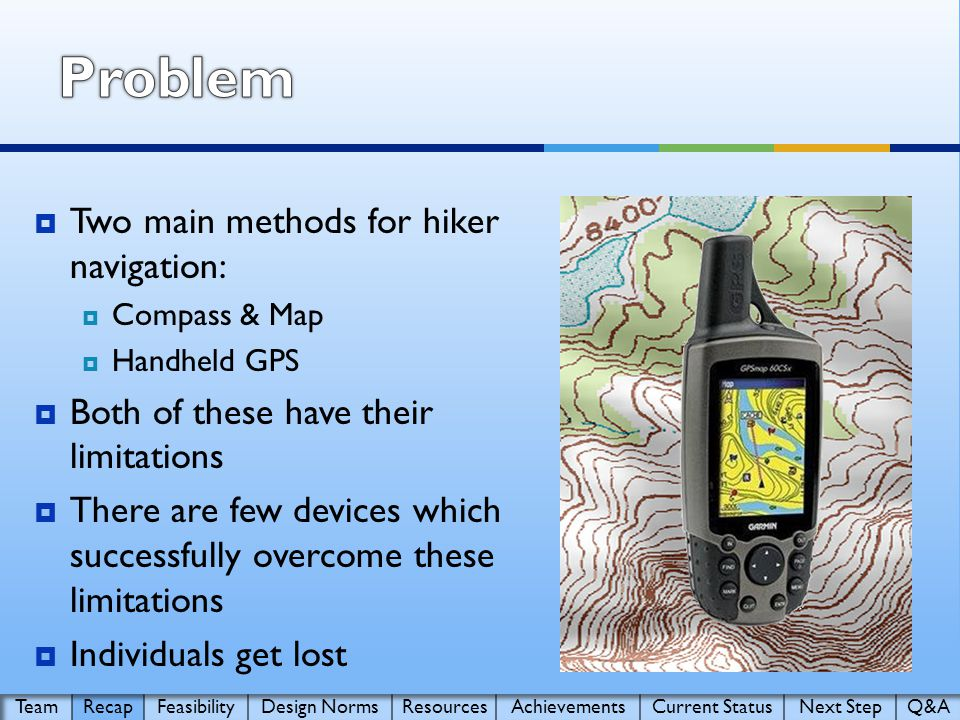  Two main methods for hiker navigation:  Compass & Map  Handheld GPS  Both of these have their limitations  There are few devices which successfully overcome these limitations  Individuals get lost
