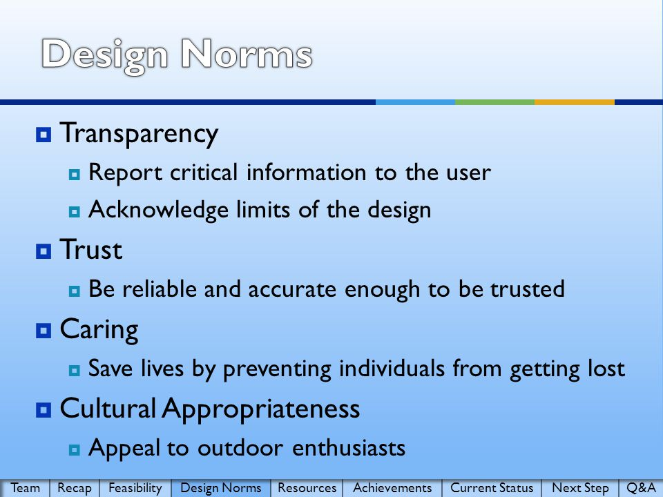  Transparency  Report critical information to the user  Acknowledge limits of the design  Trust  Be reliable and accurate enough to be trusted  Caring  Save lives by preventing individuals from getting lost  Cultural Appropriateness  Appeal to outdoor enthusiasts