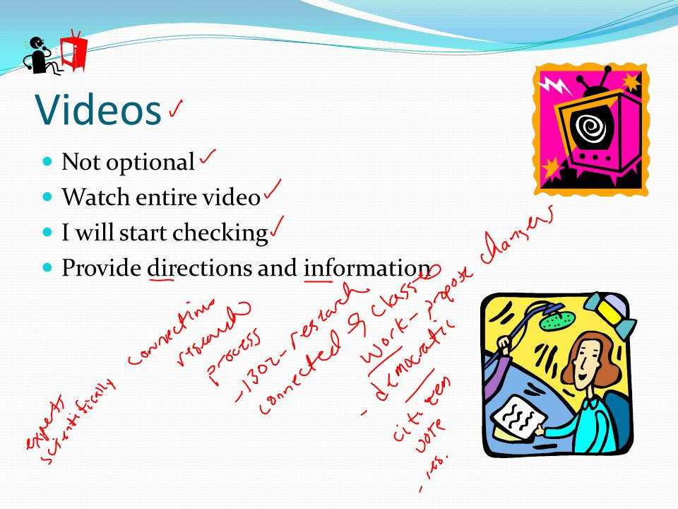 Videos Not optional Watch entire video I will start checking Provide directions and information