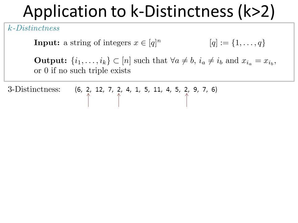 Application to k-Distinctness (k>2) (6, 2, 12, 7, 2, 4, 1, 5, 11, 4, 5, 2, 9, 7, 6)