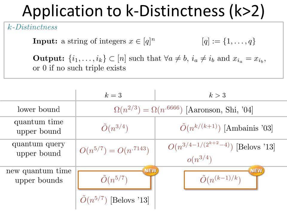 Application to k-Distinctness (k>2)