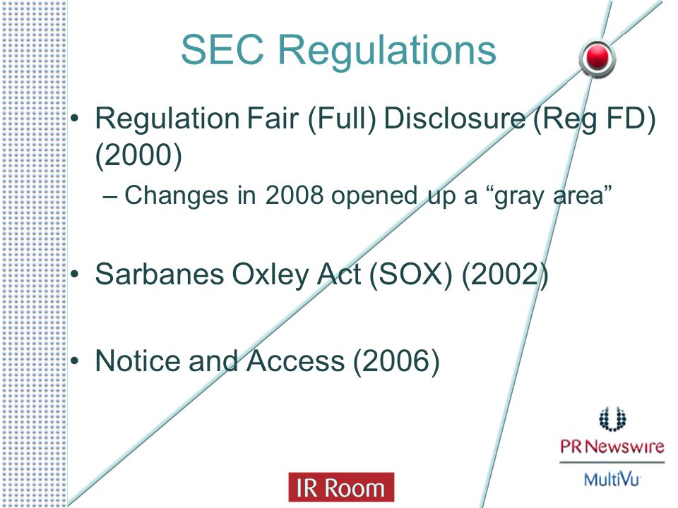 SEC Regulations Regulation Fair (Full) Disclosure (Reg FD) (2000) –Changes in 2008 opened up a gray area Sarbanes Oxley Act (SOX) (2002) Notice and Access (2006)