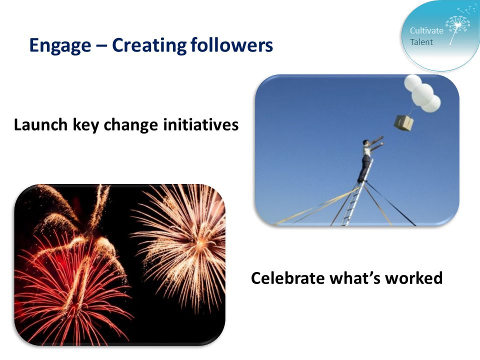 Cultivate Talent Engage – Creating followers Launch key change initiatives Celebrate what's worked