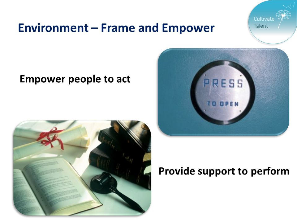 Cultivate Talent Environment – Frame and Empower Empower people to act Provide support to perform