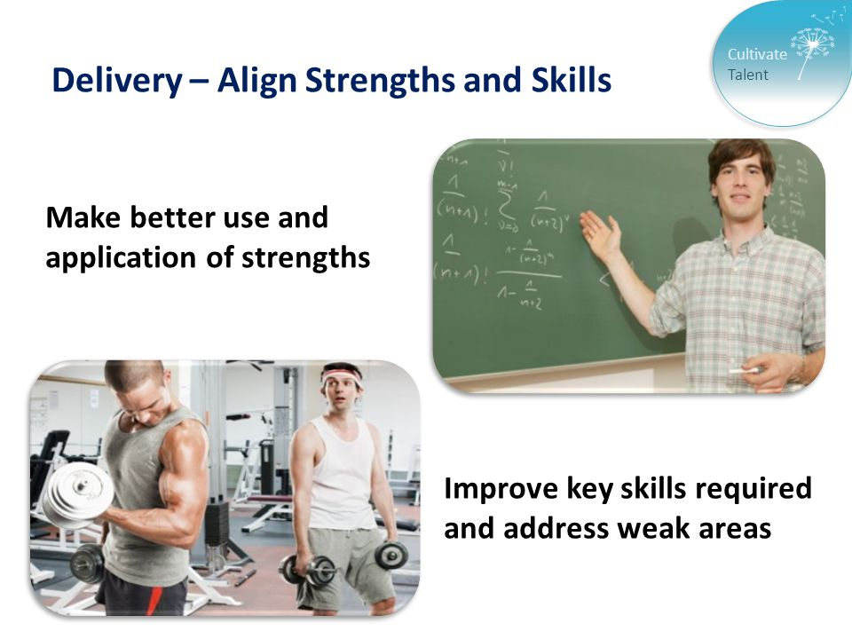 Cultivate Talent Delivery – Align Strengths and Skills Make better use and application of strengths Improve key skills required and address weak areas
