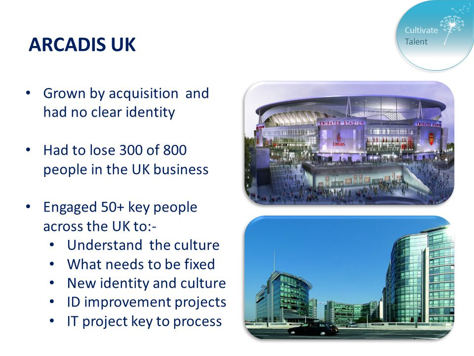 Cultivate Talent ARCADIS UK Grown by acquisition and had no clear identity Had to lose 300 of 800 people in the UK business Engaged 50+ key people across the UK to:- Understand the culture What needs to be fixed New identity and culture ID improvement projects IT project key to process