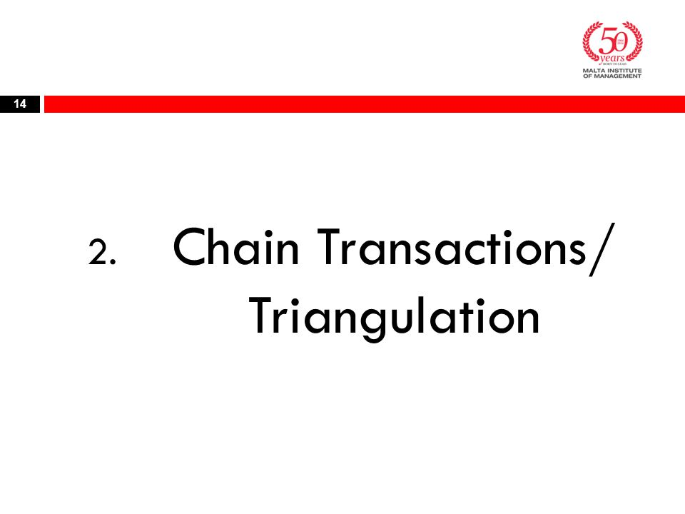 2. Chain Transactions/ Triangulation 14