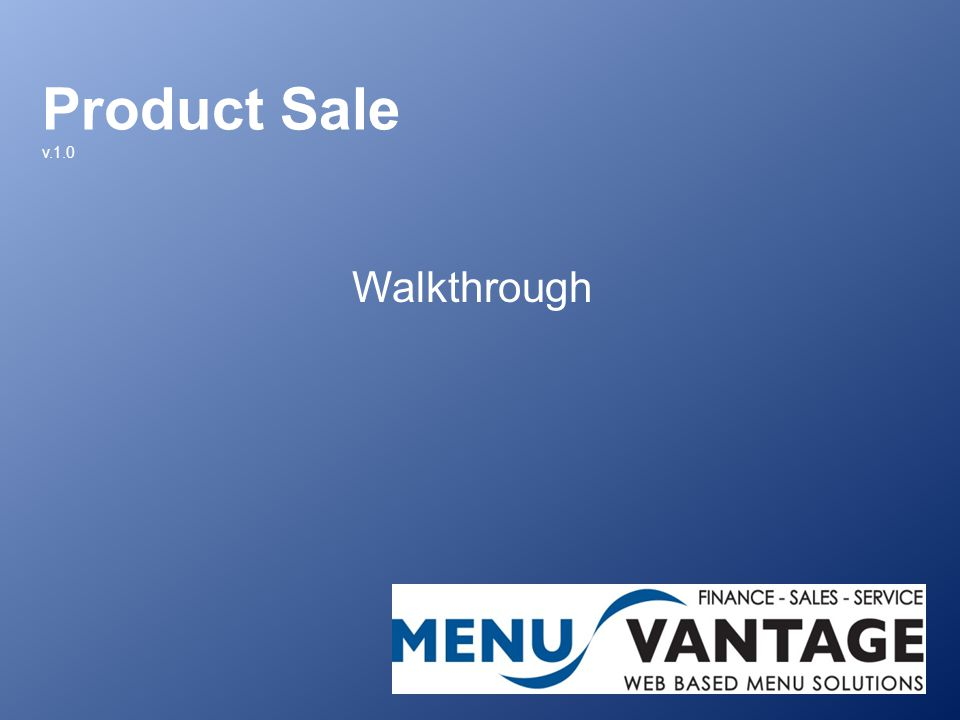 Product Sale v.1.0 Walkthrough