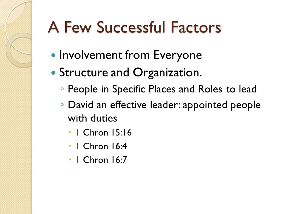 A Few Successful Factors Involvement from Everyone Structure and Organization. ◦ People in Specific Places and Roles to lead ◦ David an effective lead