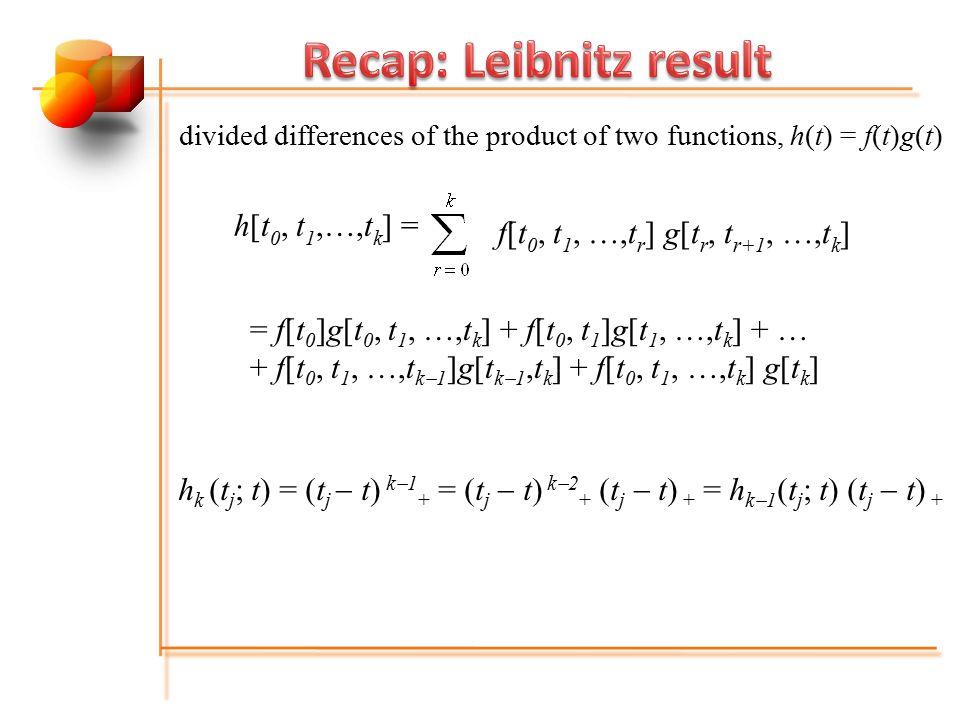 h k [t i  k,..., t i ;t ] = h k  1 [t i  k,…, t i  1 ;t] + h k  1 [t i  k,…, t i ;t](t i  t) k th divided difference of (t j  t) k  1 + : B-spline M k, i (t) M k-1,i-1 (t)