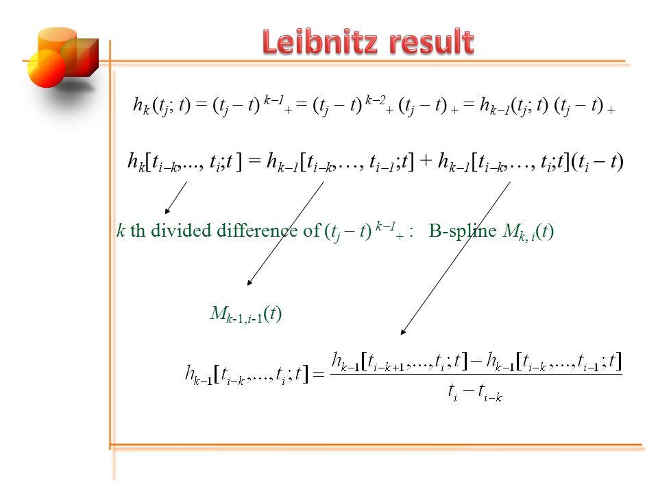 h k [t i  k,..., t i ;t ] = h k  1 [t i  k,…, t i  1 ;t] + h k  1 [t i  k,…, t i ;t](t i  t) k th divided difference of (t j  t) k  1 + : B-s