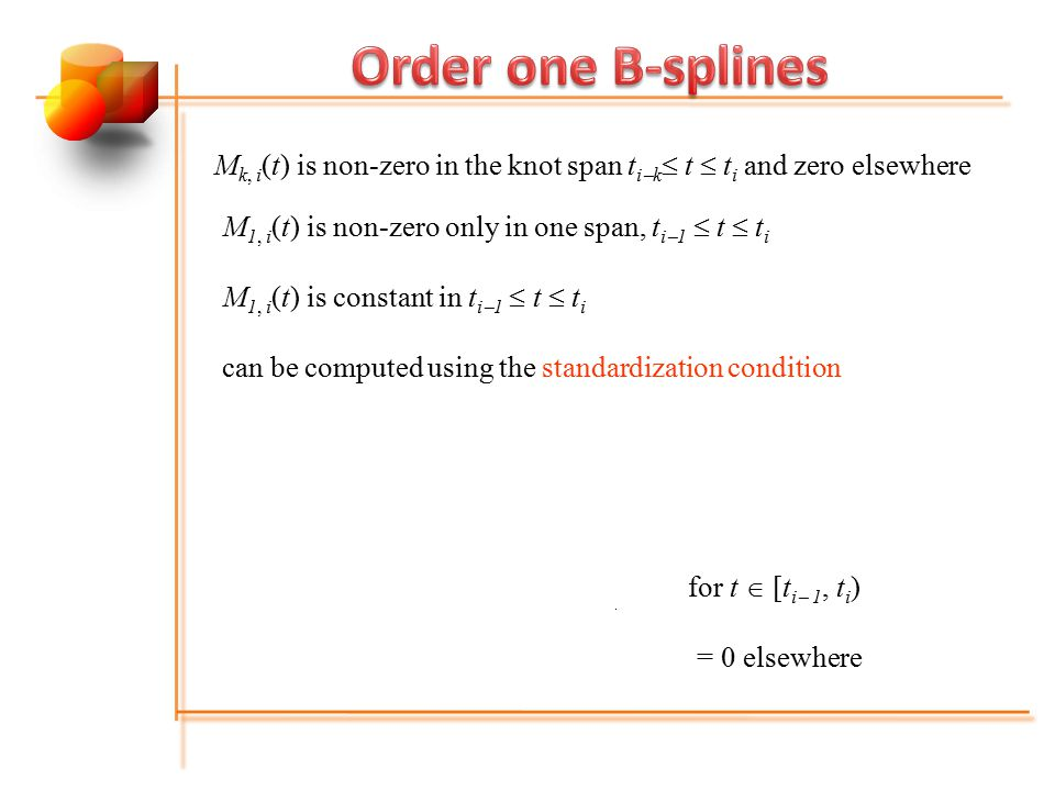 for t  [t i  1, t i ) = 0 elsewhere M k, i (t) = M k  1,i  1 (t) + M k  1, i (t) for t  [t i  k, t i ) = 0 elsewhere