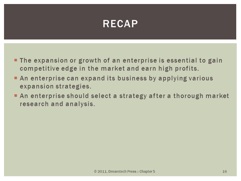  The expansion or growth of an enterprise is essential to gain competitive edge in the market and earn high profits.