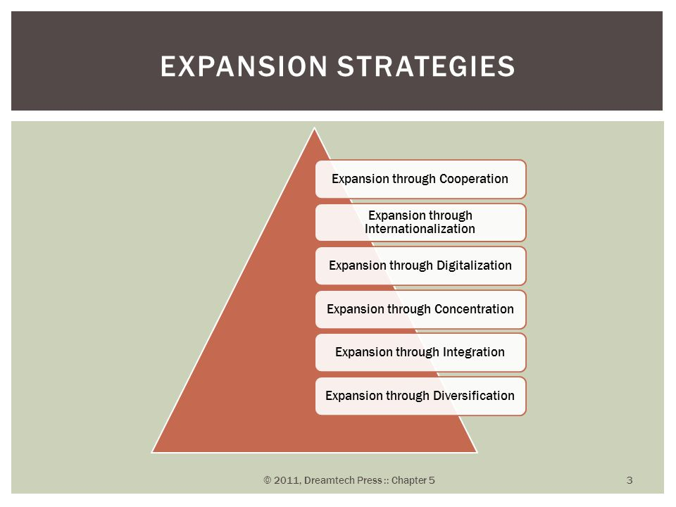Expansion through Cooperation Expansion through Internationalization Expansion through DigitalizationExpansion through ConcentrationExpansion through IntegrationExpansion through Diversification EXPANSION STRATEGIES © 2011, Dreamtech Press :: Chapter 5 3