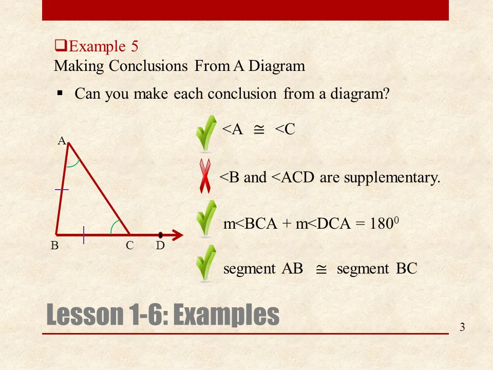  Example 5 Making Conclusions From A Diagram Lesson 1-6: Examples  Can you make each conclusion from a diagram? 3 m<BCA + m<DCA = 180 0 <B and <ACD