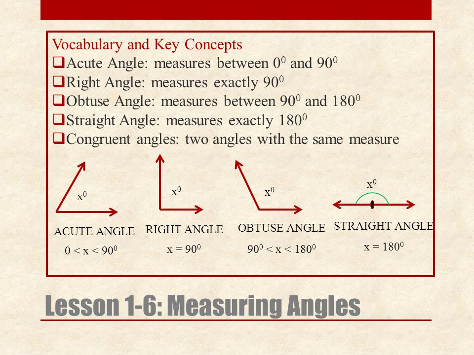 Vocabulary and Key Concepts  Acute Angle: measures between 0 0 and 90 0  Right Angle: measures exactly 90 0  Obtuse Angle: measures between 90 0 and 180 0  Straight Angle: measures exactly 180 0  Congruent angles: two angles with the same measure x0x0 Lesson 1-6: Measuring Angles x0x0 ACUTE ANGLE RIGHT ANGLE 0 < x < 90 0 x = 90 0 x0x0 90 0 < x < 180 0 OBTUSE ANGLE x0x0 x = 180 0 STRAIGHT ANGLE