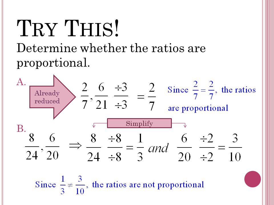 T RY T HIS ! Determine whether the ratios are proportional. A.. B.. Already reduced Simplify