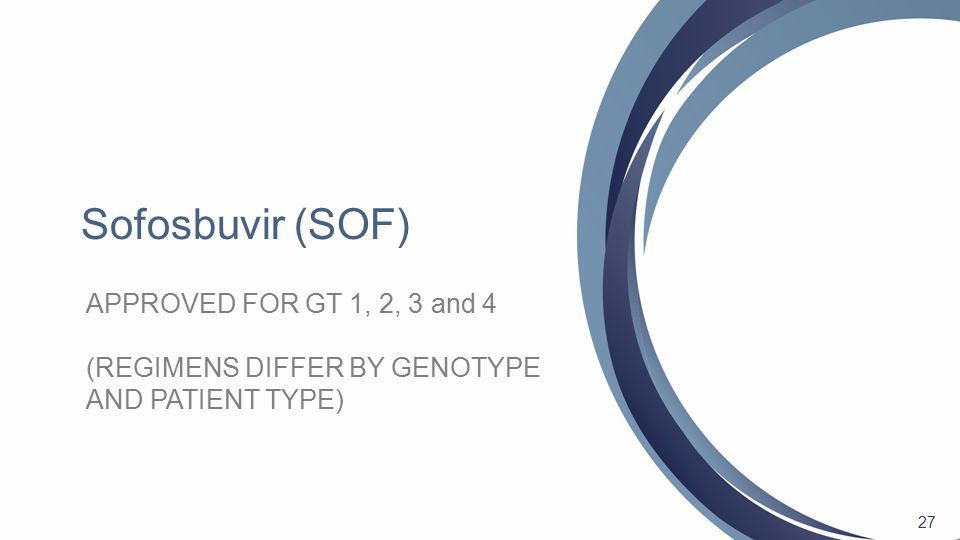 27 APPROVED FOR GT 1, 2, 3 and 4 (REGIMENS DIFFER BY GENOTYPE AND PATIENT TYPE)