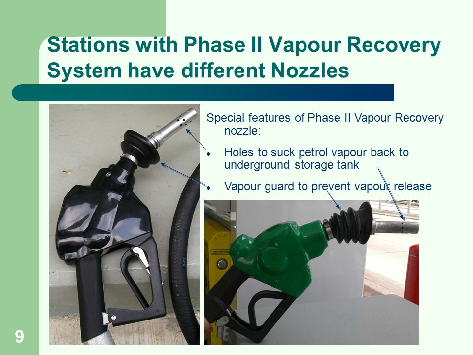 9 Stations with Phase II Vapour Recovery System have different Nozzles Special features of Phase II Vapour Recovery nozzle: Holes to suck petrol vapou