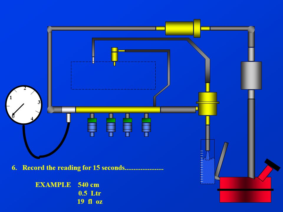 0 2 1 3 4 6. Record the reading for 15 seconds...................... EXAMPLE 540 cm 0.5 Ltr 19 fl oz