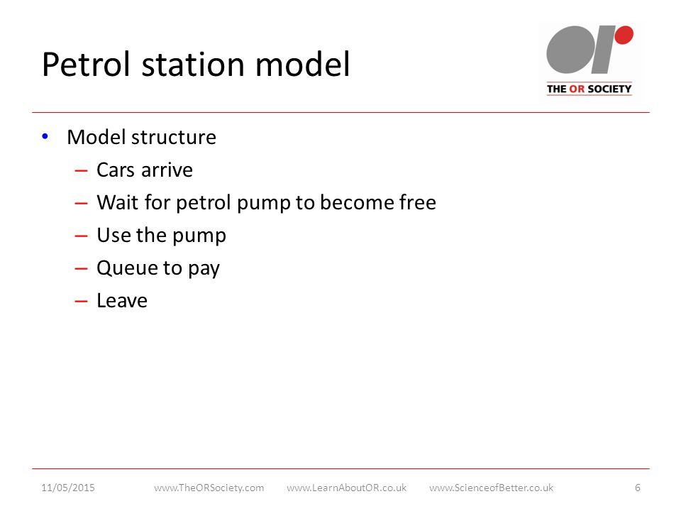 Petrol station model Model structure – Cars arrive – Wait for petrol pump to become free – Use the pump – Queue to pay – Leave 11/05/2015www.TheORSociety.com www.LearnAboutOR.co.uk www.ScienceofBetter.co.uk6