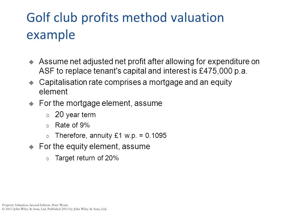  Assume net adjusted net profit after allowing for expenditure on ASF to replace tenant's capital and interest is £475,000 p.a.  Capitalisation rate