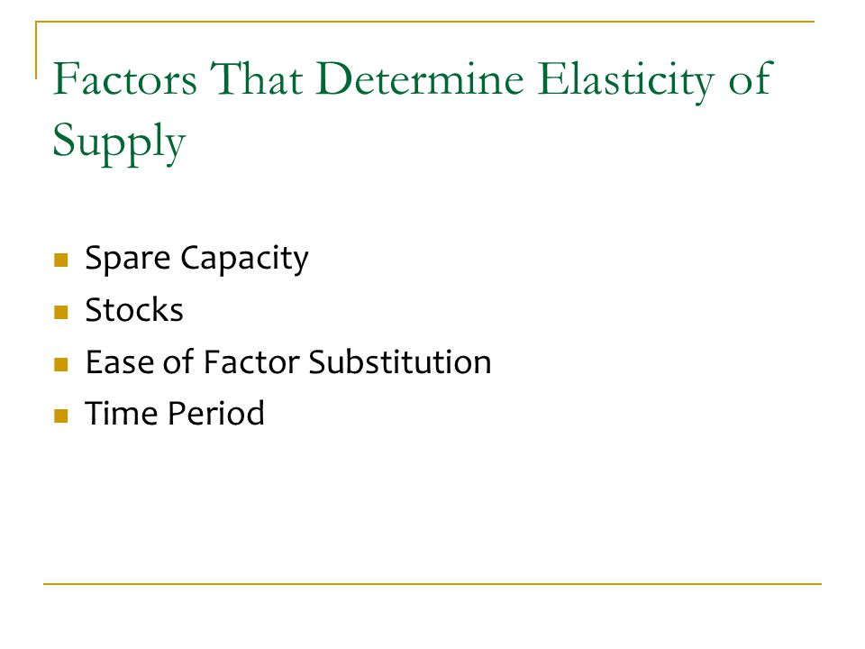 Factors That Determine Elasticity of Supply Spare Capacity Stocks Ease of Factor Substitution Time Period