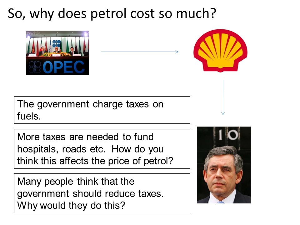 The government charge taxes on fuels. More taxes are needed to fund hospitals, roads etc. How do you think this affects the price of petrol? Many peop