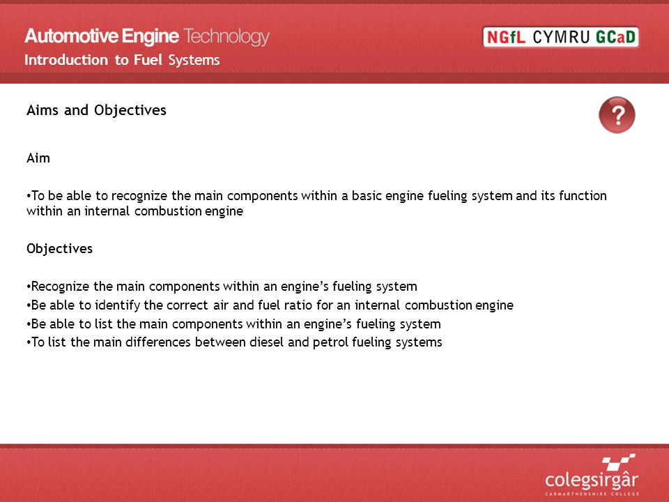 Any questions ? Introduction to Fuel Systems