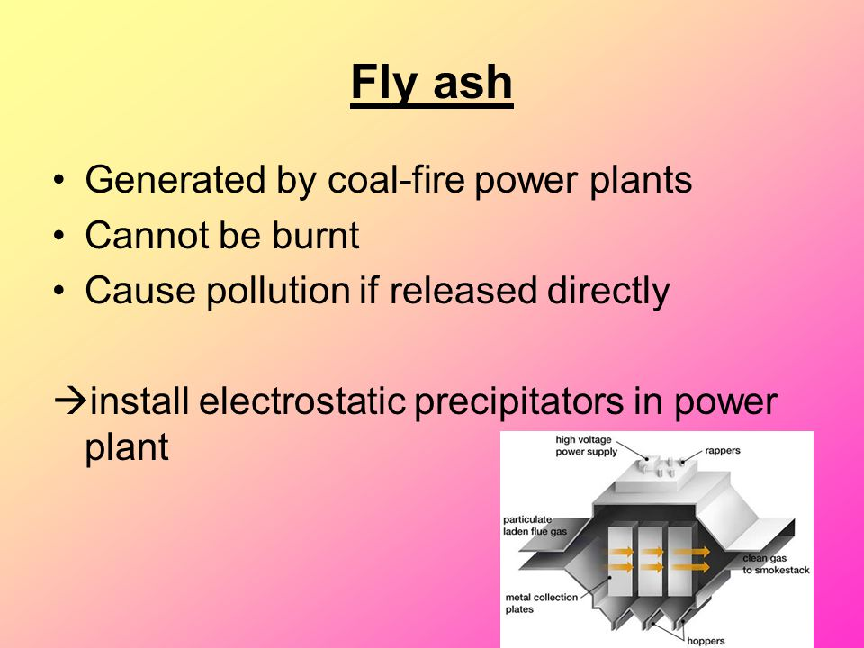 Fly ash Generated by coal-fire power plants Cannot be burnt Cause pollution if released directly  install electrostatic precipitators in power plant