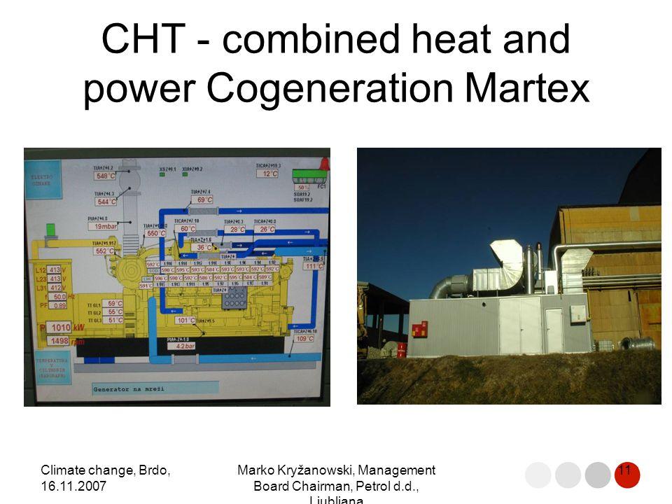 Climate change, Brdo, 16.11.2007 Marko Kryžanowski, Management Board Chairman, Petrol d.d., Ljubljana 11 CHT - combined heat and power Cogeneration Martex