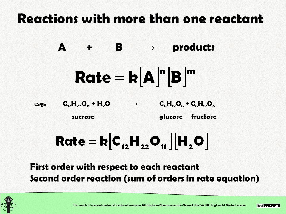This work is licensed under a Creative Commons Attribution-Noncommercial-Share Alike 2.0 UK: England & Wales License Reactions with more than one reactant A+B → products e.g.