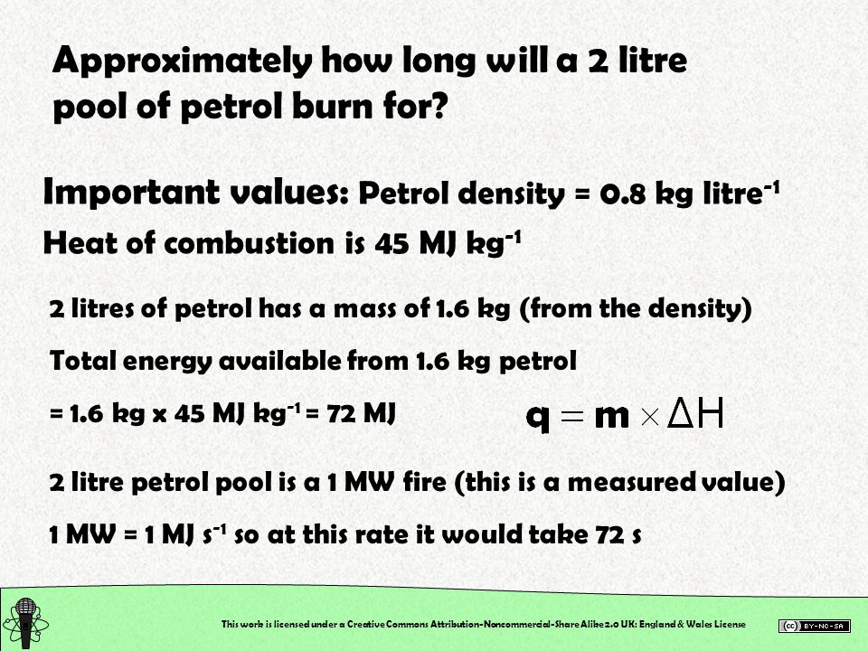 This work is licensed under a Creative Commons Attribution-Noncommercial-Share Alike 2.0 UK: England & Wales License Approximately how long will a 2 litre pool of petrol burn for.