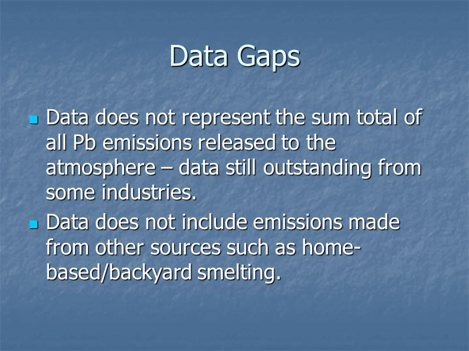 Data Gaps Data does not represent the sum total of all Pb emissions released to the atmosphere – data still outstanding from some industries.