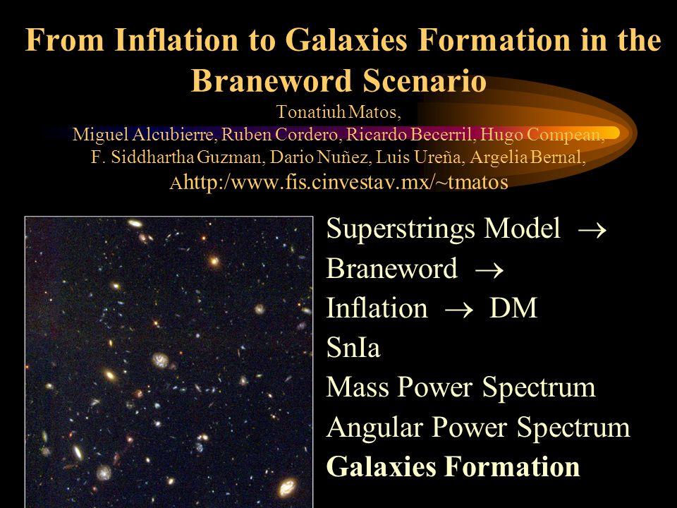 From Inflation to Galaxies Formation in the Braneword Scenario Tonatiuh Matos, Miguel Alcubierre, Ruben Cordero, Ricardo Becerril, Hugo Compean, F.