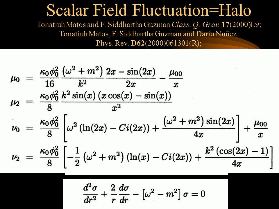 Scalar Field Fluctuation=Halo Tonatiuh Matos and F.